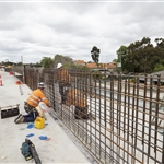 Construction of ballast box at Bayswater Junction overpass - October 2019