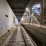 Slab track laid within Airport Central Station - October 2020